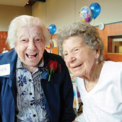 90 + birthday celebration-photo Mike Wakefield May 25/2016   100 yr old friends Ada Molson and Kay Jackson arrive at the 90+ birthday celebration at WV United church.An annual event inviting seniors 90+ years old to attend a mass birthday party with Music food and of course cake with lots of candles t -seniors