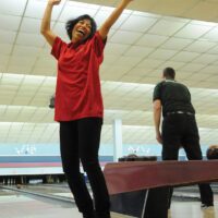 NS Bowl3 Special Olympians   Mar 22-18    Emilie Narcise Celebrates a strike. photo Mike Wakefield